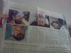 Ai Wei Wei uploaded this picture from his hospital room in Munich, showing German newspaper coverage of his ordeal