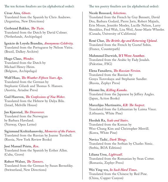 Best Translated Book Award finalists