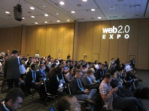 Waiting for keynote speeches to begin at Web 2.0