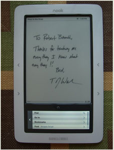 Authography e-signature on a Nook