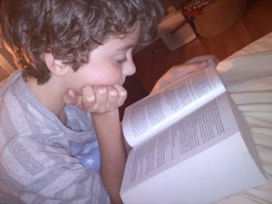 Kieran reading Tolstoy