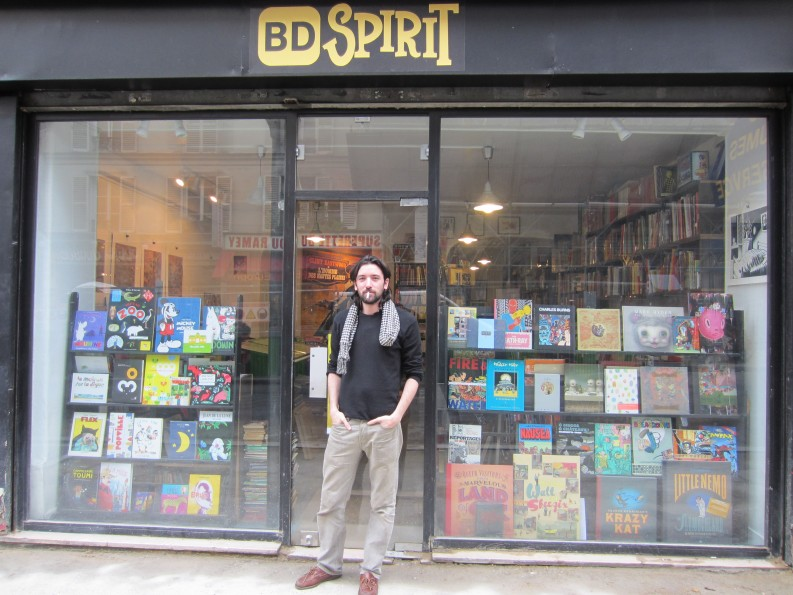 Manuel Morin in front of his extraordinary bookshop