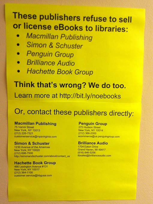 Houghton posted this sign in the San Raphael Public Library after learning that Penguin had terminated its contract with OverDrive.