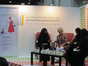 Emirati YA novelist Noura Noman (left) and German children's-book writer Kirsten Boie (right)