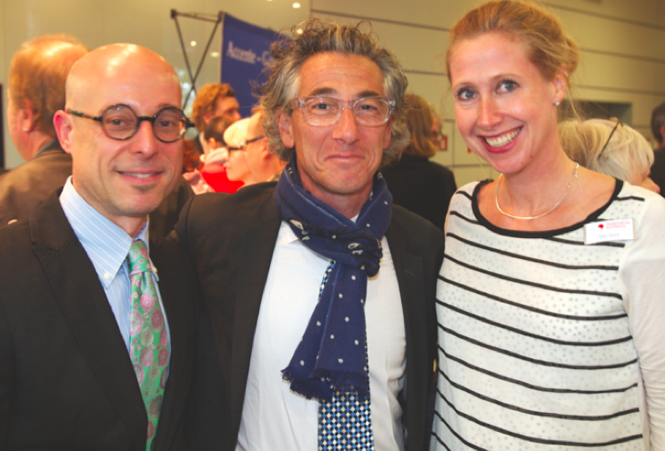 Jeffrey Lependorf (CLMP), Ira Silverberg (NEA), Riky Stock (GBO) at the Frankfurt Book Fair