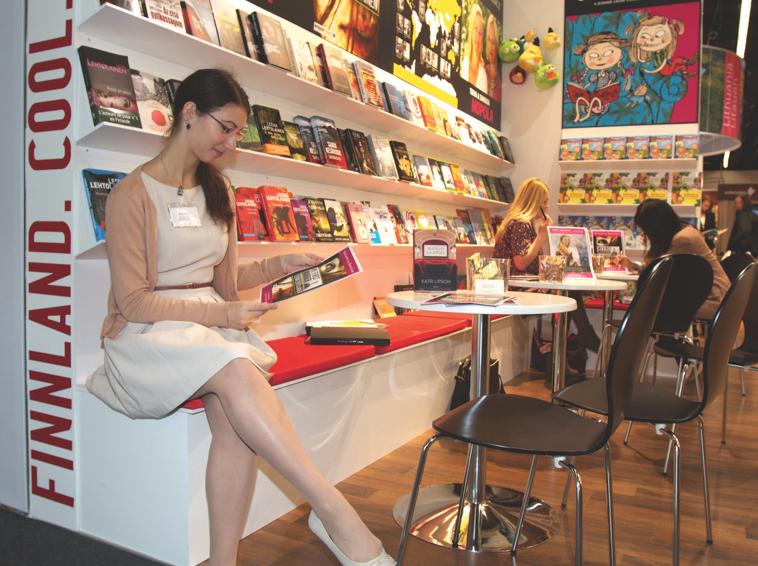 Melanie Schmitt reads at Finland's stand during the Frankfurt Book Fair 2012