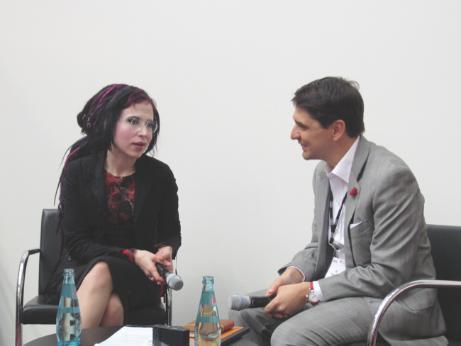 Finnish author Sofi Oksanen interviewed by Publishing Perspectives' Edward Nawotka at the Frankfurt Book Fair