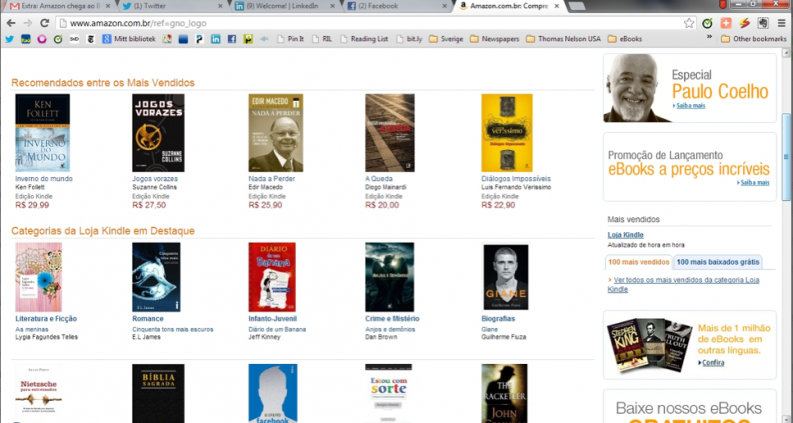 A screenshot of Amazon's Brazilian e-bookstore