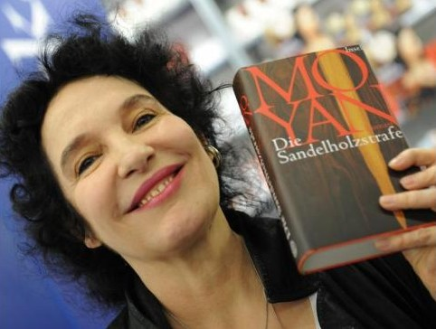 Ulla Unseld Berkéwicz celebrating Mo Yan's Nobel Prize at this year's Frankfurt Book Fair