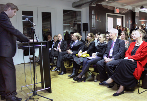 Daniel Kehlmann delivers a speech honoring Knopf executive and translator Carol Brown Janeway (seated, far right)