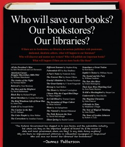 James Patterson's ad, placed in the New York Times Book Review and Publishers Weekly