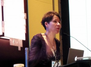 Kristin Nelson speaks to the Writer's Digest Conference East assembly.