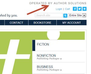 Excerpt of the upper right corner of the Simon & Shuster-owned Archway Publishing site,  indicating Author Solutions' operation.
