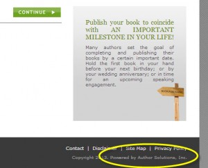 Excerpt from the ChooseYourPublisher.com site, with the reference to Author Solutions at the bottom of the page: fine print.