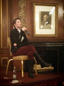 Amanda Palmer takes questions from the Muse and Marketplace conference audience in Boston under the gaze of the eponymous Georgian Room's namesake at the Park Plaza Hotel. Photo: Sonya Larson