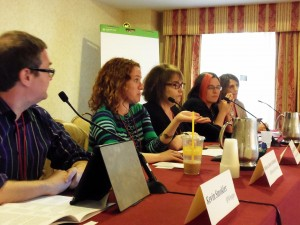 From left, a marketplace panel at the Muse conference on promotion and publicity. From left, Kevin Smokler and Rebecca Schinsky, who may be purring at Randy Susan Meyers. Beyond Meyers are Kristen McLean and Sharon Bially. Photo: Porter Anderson