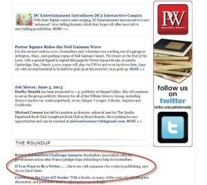 "Publishers Weekly ""Daily,"" June 5, 2013"