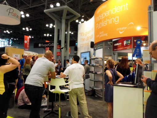 Amazon's CreateSpace display at BEA 2013 had a small presentation space, the closest thing to an AuthorLounge-type setup at the show. | Photo: Porter Anderson