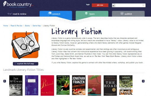 Book Country literary fiction explainer and examples