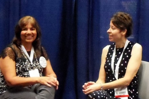 "Author Barbara Freethy, left, and agent Kristin Nelson spoke in May at the ""Indie Bestsellers"" booth at BEA in New York. Photo: Porter Anderson"