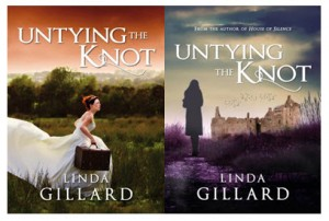 Author Linda Gillard says it was difficult coming up with a cover that reflected various elements of Untying the Knot. Her newer cover is on the right.