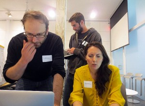 AAA Swissnex Hackday BiB - David Harris, Meghan MacDonald, Bill Levien ready