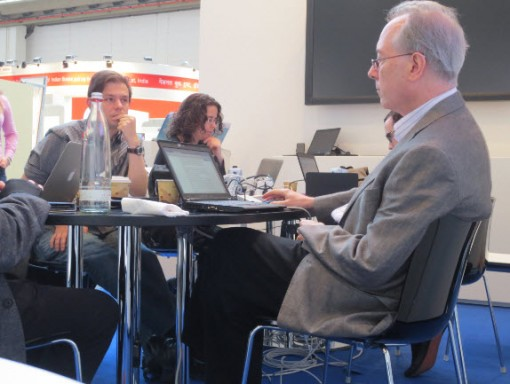 In the ASU Center for Science and the Imagination's Sprint Beyond the Book project, a team of writers worked for three days on the floor of Frankfurt Book Fair. Photo: Porter Anderson