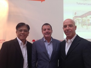Frank Wong and Shane Armstrong, Scholastic, with Mark Dressler at the Frankfurt Book Fair 2013