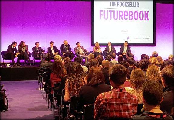 "The FutureBook's ""Big Ideas"" panel onstage at the Queen Elizabeth II Centre, Westminster. Photo: Porter Anderson"