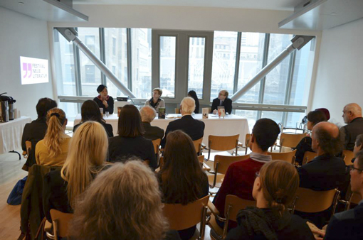 Author Monique Truong, festival curator Tess Lewis, festival director Brittany Hazelwood, and Deutsches Haus at NYU director Martin Rauchbauer