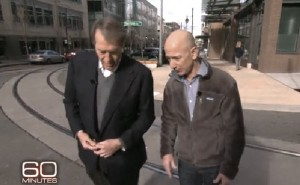 Charlie Rose and Jeff Bezos talk in Seattle for the CBS 60 Minutes piece on Amazon.