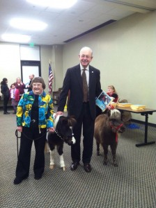 Library Director, Dolores Greenwald, and City of Franklin Mayor, Dr. Ken Moore, with Bucky and Bonnie at the books signing for Bucky and Bonnie's Library Adventure