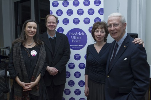 L to R: Juliana Camfield (Director, Deutsches Haus at NYU), Philip Boehm (translator), Sara Bershtel (Publisher, Metropolitan Books), Prof. Friedrich Ulfers (NYU)