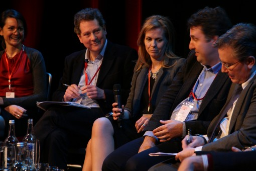 From left, Polly Courtney, Andrew Lownie, Adele Parks, Piers Blofeld in the London Book Fair's Brain Storm panel