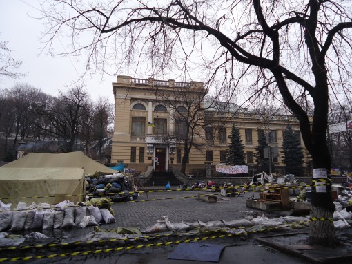 Barricades outside the National Parliamentary Library. (Photo: Halyna Kyrychenko)