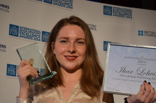 Alexandra Logvinova celebrates her father's Freedom to Publish Award.