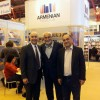 L-R: Charle Malas, Armenian Pavilion Organizer; Varujan Vosganian, Romanian-Armenian politician, economist and essayist; and Hagop Havatian, director of the Vahe Setian /Hamazkayin publishing house of Beirut.