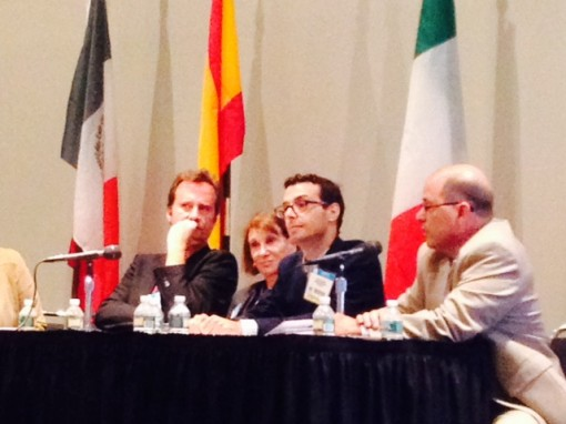Here, discussing literary translation at BookExpo America, pictured from left to right: Author Marcos Giralt Torrente, Scout Maria Campbell, Editor John Siciliano, and Translator Antony Shugaar