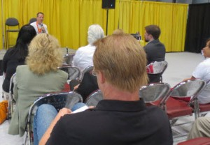 Hub Author Hugh Howey was the first speaker in the BEA program's presentations lineup. His talk was on AuthorEarnings.com. Photo: Porter Anderson