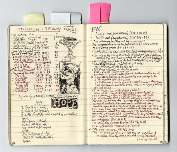 A page from Lord's notebook documenting his work illustrating Finnegans Wake.