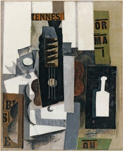 Picasso still life of with glass, guitar and a bottle.