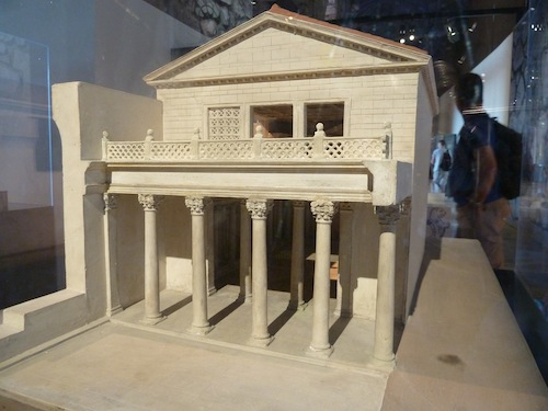 A model of one of the grand libraries of ancient Rome.