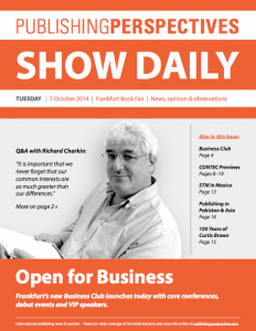 Download our Frankfurt Book Fair show daily for Tuesday, 7 October 2014