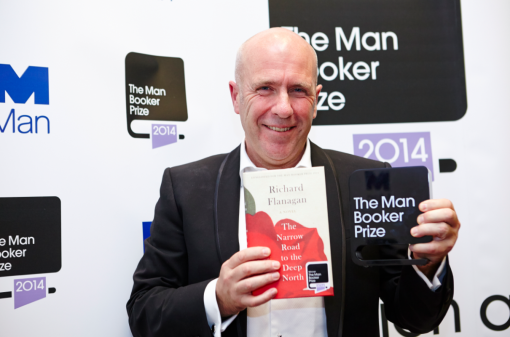 Richard Flanagan shows off his 2014 Man Booker Prize. He might yet win another, less prestigious, award...