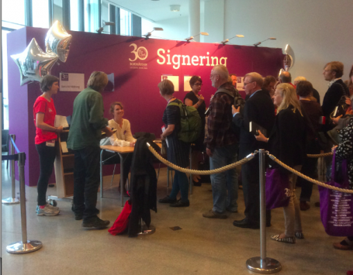Signing line for author Sara Stridsberg at the Gothenborg International Book Fair