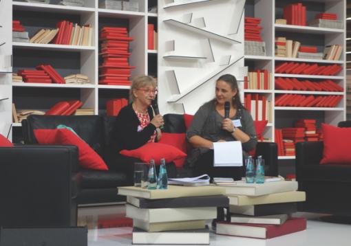 Dr. Tuula Karjalainen and Anke Michler-Janhunen at the Frankfurt Book Fair