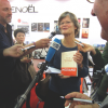 Gallimard Foreign Rights Director, Anne-Solange Noble, celebrates Patrick Modiano's 2014 Nobel Prize for Literature at the Frankfurt Book Fair.