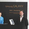 Rory O'Neill of Samsung displays the latest devices at the Frankfurt Book fair