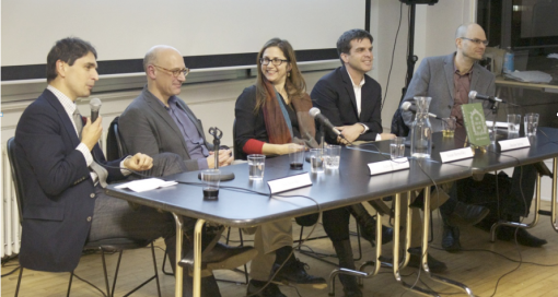 GBO Translation Panel, from left to right: Ed Nawotka, Edwin Frank, Susan Bernofsky, Declan Spring and Stephen Twilley.