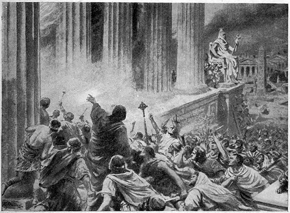 The Burning of the Library at Alexandria in 391 AD, an illustration from 'Hutchinsons History of the Nations', c. 1910.